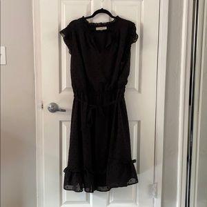Loft Black Swiss Dot Ruffle Midi Dress EUC